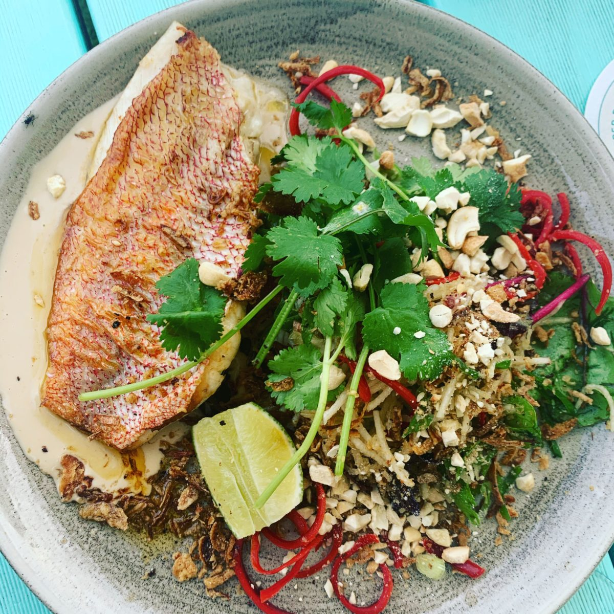 Steamed Fish with Cashew Sauce and Green Papaya Salad